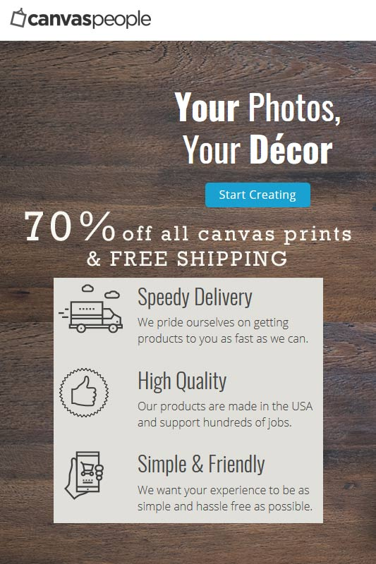 Discounts on prints on canvas - 70% off!  Get your photo on canvas, Go from photo to art.