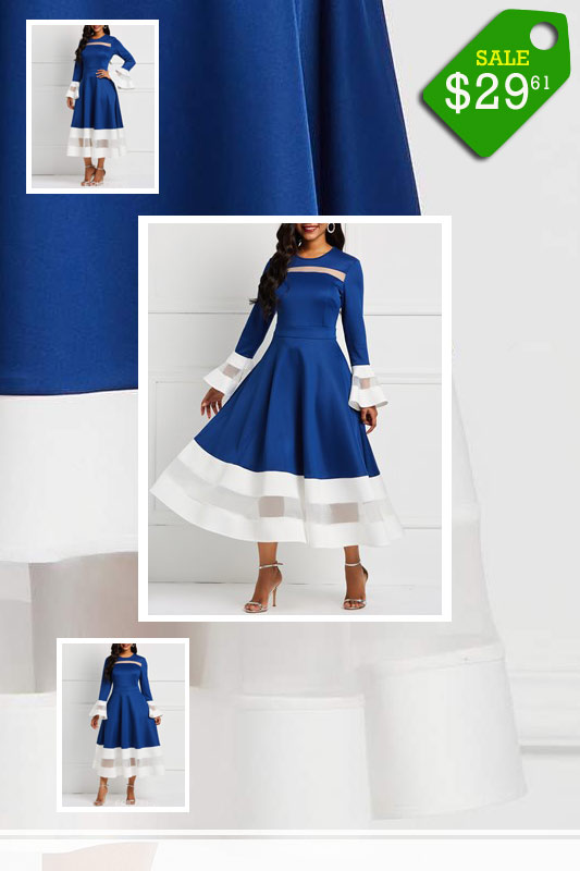 Round-Neck-Mid-Calf-Long-Sleeve-Sweet-Flare-Sleeve-Dress