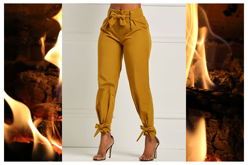 FIRE! Bowknot Plain Womens Pencil Pant