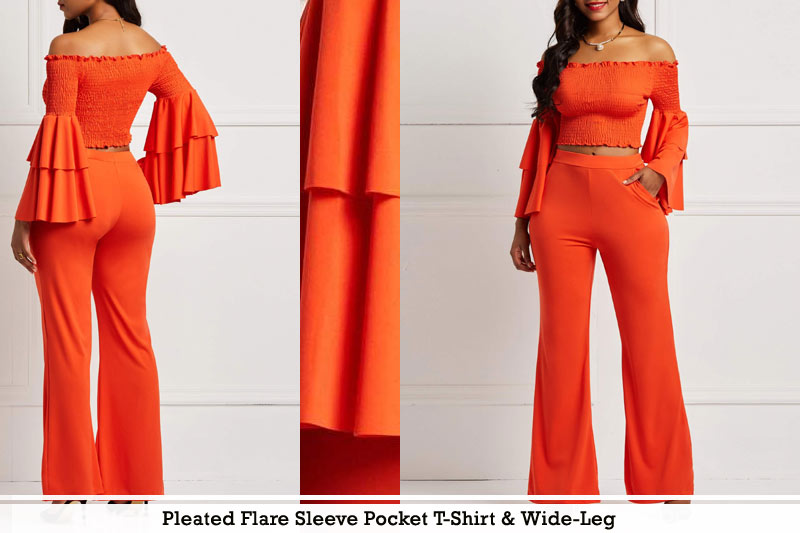 Pleated Flare Sleeve Pocket T-Shirt and Wide-Leg
